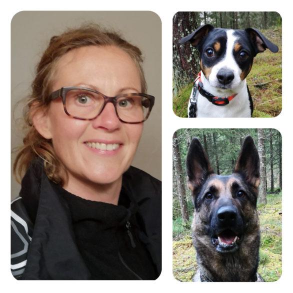 Caroline Jönsson och hennes hundar.